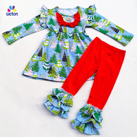 New Arrival Baby Winter Girls 2 Pieces Sets Ruffle Boutique Children 100 Cotton Clothes Christmas Tree