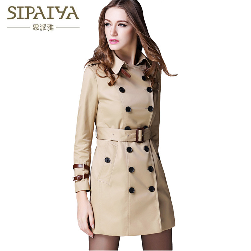 SIPAIYA Womens Double Button Trench Womens Classical Windbreaker Trench Coat 2017 Autumn Outwear Office Lady Fashion Coat