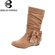 BONJOMARISA Grande Taille Moitié Genou Neige Bottes Femmes Strass Bowtie Sexy Hiver Chaussures Caché Wedge Talon D'hiver Chaussures Bottes HB144