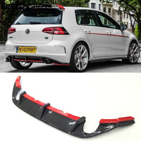 Golf VII Red Line Carbon Fiber Rear Bumper Diffuser lip For Volkswagen Golf7 GTI Bumper 2014~2017 Only