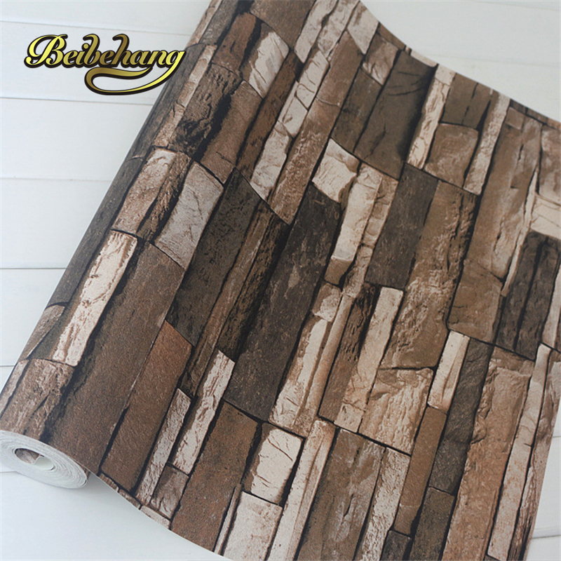 beibehang PVC Wood Stone Brick 3D Vintage Vinyl Waterproof Embossed Wallpaper Living Room Background Wall Decor Papel De Parede classic 3d stone brick pvc deep embossed wallpaper living room bedroom home decor wall paper stone rock waterproof wall covering