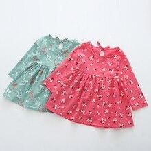 Осеннее платье для девочек модные хлопковые с длинным рукавом Детское платье осень Цветочный детское платье Одежда для девочек От 2 до 6 лет