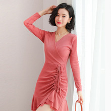 Spring 2019 New Fairy French Female Dress Lace Long Sleeve V-neck Drawstring Slim Women Dresses