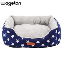 Wageton Cat Dog Bed Removable Pentagram Padded Pet Kennel House Petshop Small Medium Large Dogs Blanket Mat Dropshipping Blue(China)
