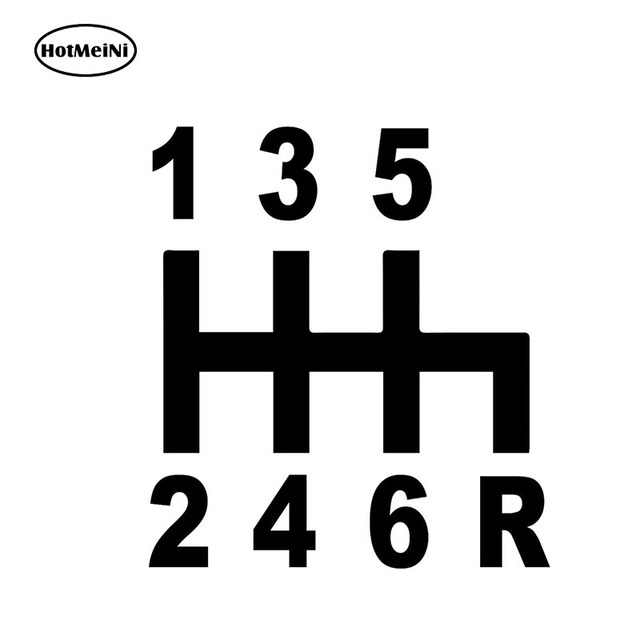 13X11.8CM 6 Speed Manual Car Window Sticker Black/Silver