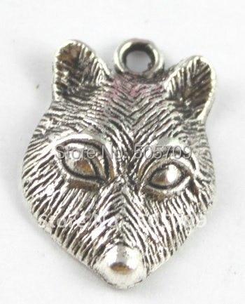 180 шт Тибетский серебристый цвет брелок-Чарм в форме головы волка A15297