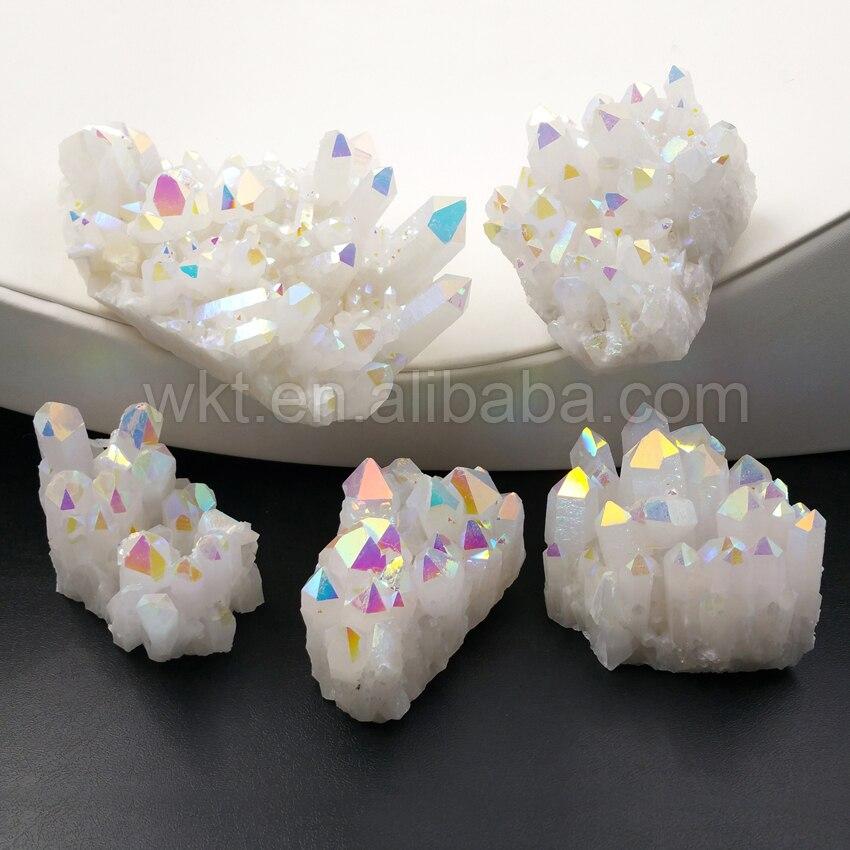 WT G222 hurtownie kryształ wysokiej jakości Custers niesamowite AB kolor galwanicznie naturalny kryształ klaster kwarcowy kamień biżuteria w Wisiorki od Biżuteria i akcesoria na  Grupa 1