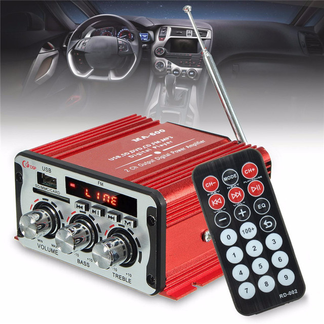 Best Offers 2 Channel Hi-Fi 12V Mini Auto Car Power Amplifier Stereo Audio Amplifier Support DVD MP3 SD AUX for Car Motorcycle Boat Home