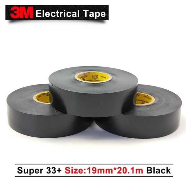 US $688 0 |3m original scotch super 33+ electrical insulation tape pvc tape  rubber black 33+ 3M single sided tape 19MM*20 1M 100 rolls/case-in Tape