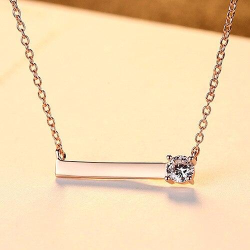 Ladies zircon simple sterling silver necklace clavicle chain fashion accessoriesLadies zircon simple sterling silver necklace clavicle chain fashion accessories