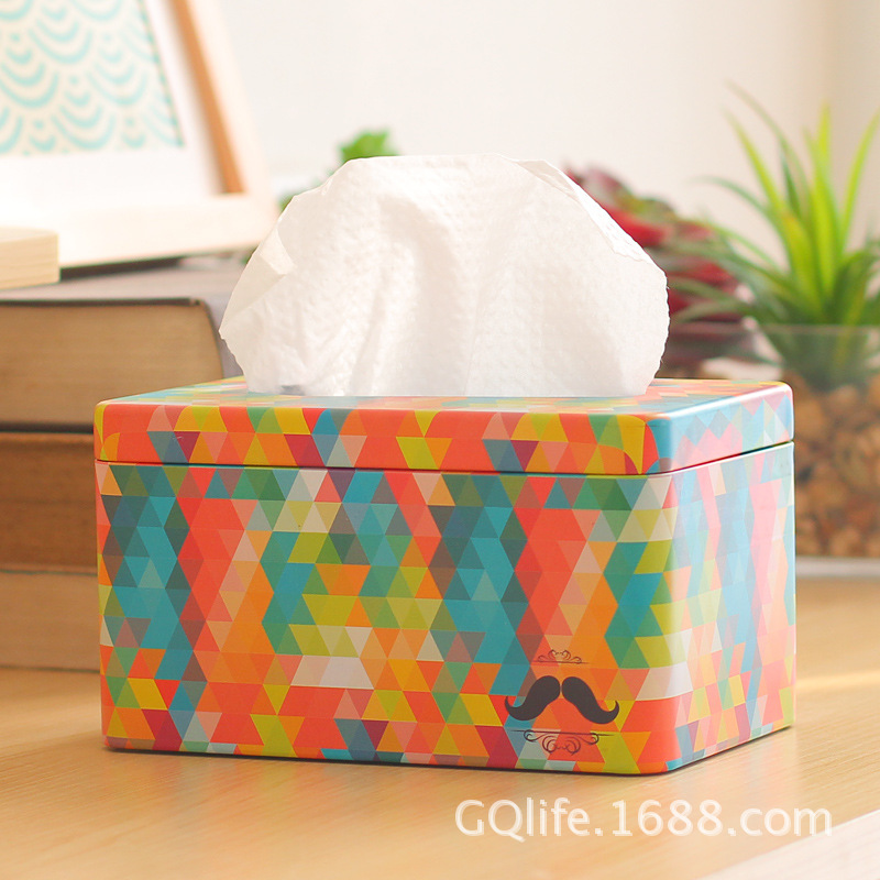 Zakka grocery creative Korea home Tin tissue box of Kleenex