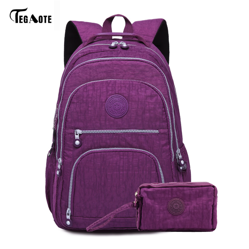 TEGAOTE 2pcs/set School Backpack for Teenage Girls Mochila Feminina Women Backpacks Set Phone Purse Nylon Casual Laptop Bags tegaote new design women backpack bags fashion mini bag with monkey chain nylon school bag for teenage girls women shoulder bags