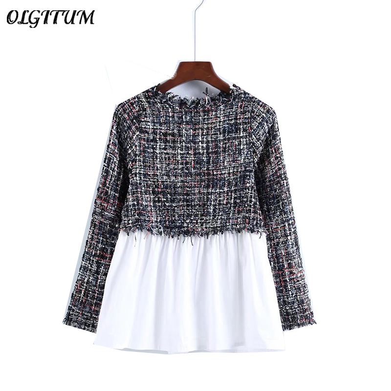 2019 Autumn New Temperament Female Blouse Small Incense Wind Spliced Tweed Long-sleeved Slim Blouse 2 Colors Celebrity Wind