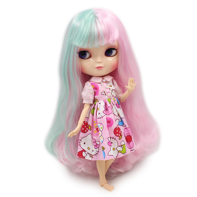 Joint Body ICY nude doll small chest  light pink mix green hair with bangs 30cm No.280BL1017/4006 free shipping Fortune Days