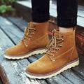 2016 Hombres de Invierno Martin Botas de Moda Casuel Nieve Botas de cordones de Tela En El Interior de Invierno Botines de Cuero Zapatos de Los Hombres de La Vendimia zapatos de Marca