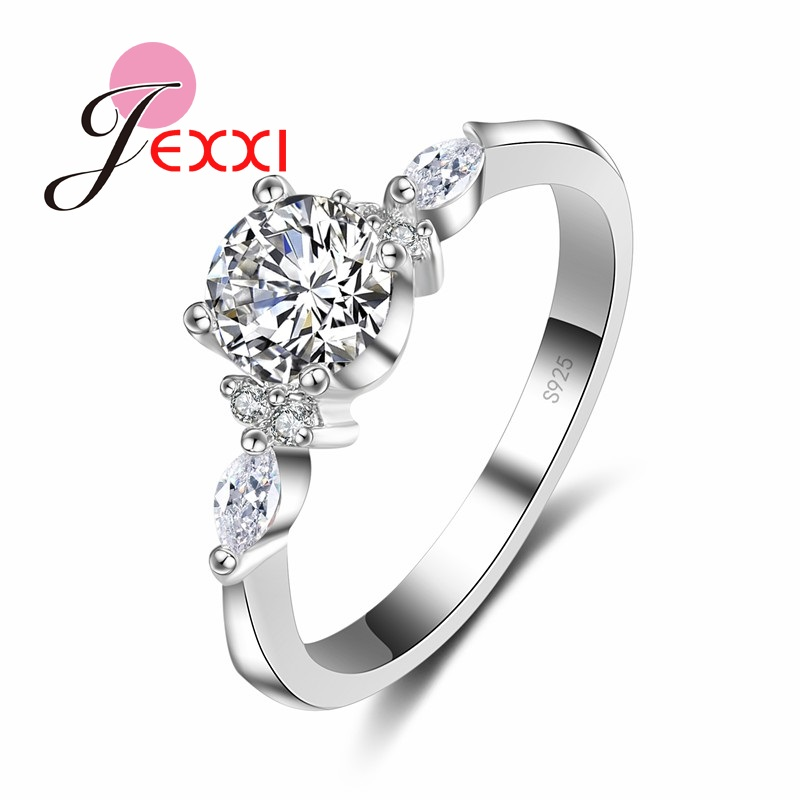 JEXXI Women Proposal Rings For 925 Sterling Silver Fashion Anillos Bijoux Cubic Zircon Crystal Wedding Engagement Rings Jewelry