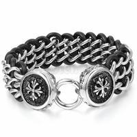 Men S Stainless Steel Black Leather Bracelet Link Wrist Silver Cross 9 6 Inch 23mm Width