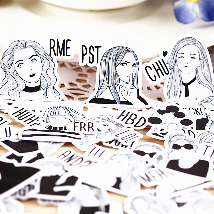 40pcs Self-made Black White Cool Girl Scrapbooking Stickers Decorative Sticker DIY Craft Photo Albums Decals Diary Deco