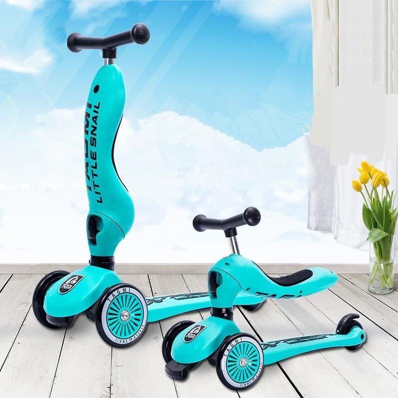 3 roues enfant mount multi-fonctionnel 2-en-1 Scooter poulie Yo-yo vélo tricycle poussette changement de forme ajuster hauteur 3-6s enfant jouet
