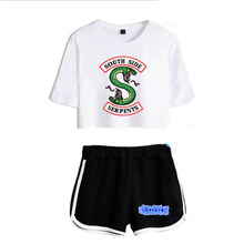 Women Two Piece Outfits Riverdale Southside Serpents 2 Piece Set Crop Top and Short Pants Tracksuit For Women Sets Clothes(China)
