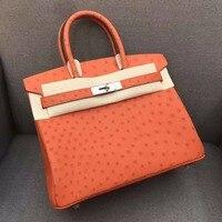 100% натуральная кожа страуса кожи Для женщин тотализатор сумка, high end качество кожи страуса сумочка ручной работы квалифицированных сумки 30