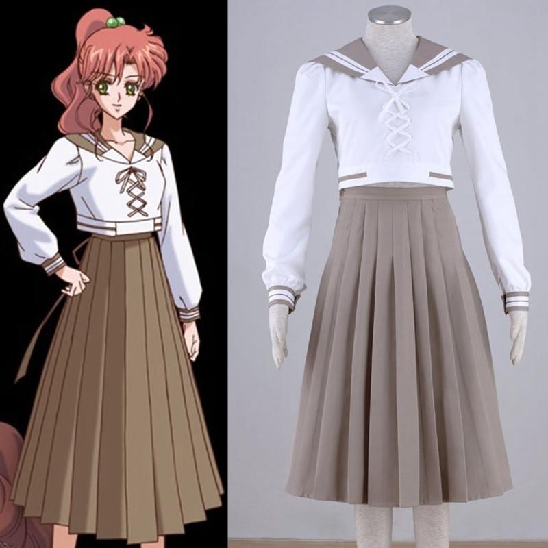 Sailor Moon Sailor Jupiter Kino Makoto Cosplay Costume School Uniform Dress