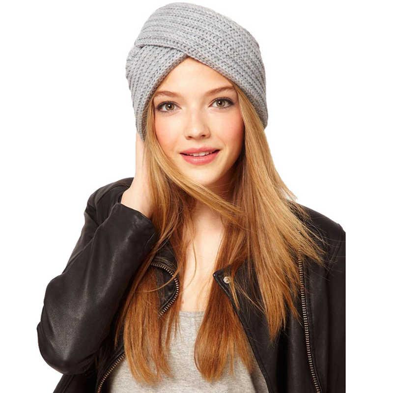 Haimeikang Women s Knitted Turban Hats Funny Cute Headband Head Wrap Cross India  Caps Ladies Winter Warm 8b39fc348f7