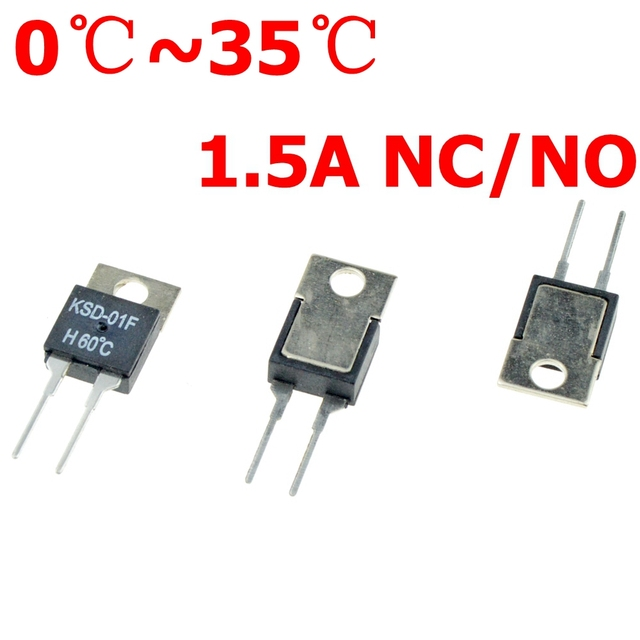 0C 5 10 15 20 25 35 DegC NC Normally Closed NO Normally Open 1.5A Thermal Switch Temperature Sensor Thermostat KSD-01F JUC-31F