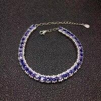 Luxurious link natural blue tanzanite gem Bracelet Natural gemstone bracelet S925 silver Romantic woman girl party gift jewelry