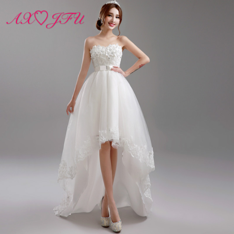 AXJFU little flowers wedding dress with long and short chest Korean Princess Bride beading bow wedding