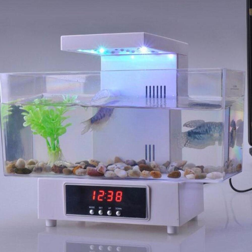 Mini Usb Desktop Electronic Aquarium Mini Fish Tank With Recycled Water Running <font><b>LED</b></font> Light akvaryum <font><b>C2</b></font>