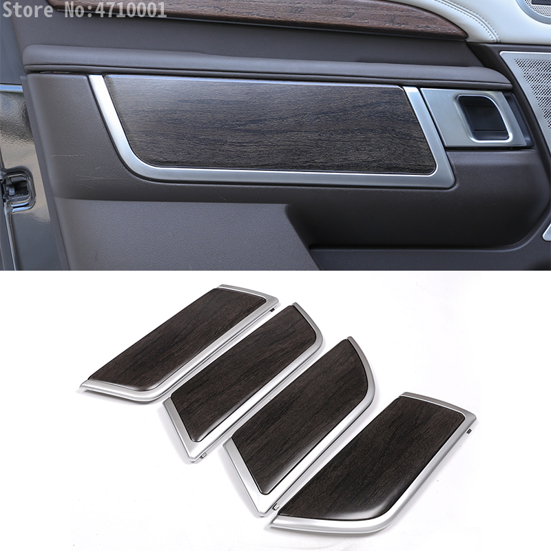 4PCS Oak Wood Style ABS Car Door Decoration Panel Strips Trim For Land Rover Discovery 5 LR5 2017 2018 L462 Replacement Parts