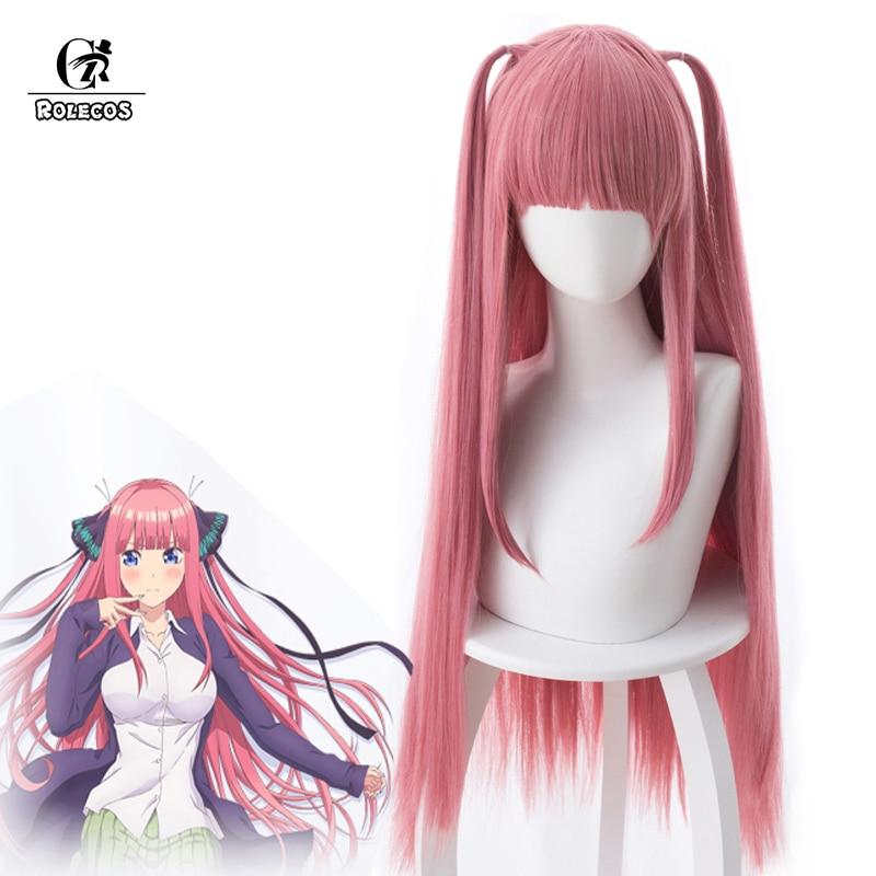 ROLECOS Gotoubun no Hanayome Cosplay Hair Nino Nakano Long Hair 80cm The Quintessential Quintuplets Pink Hair