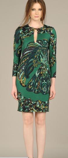2016 newest lady dress dark green printing Slim Stretch Knit Dress