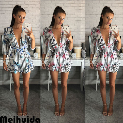HIRIGIN Newest Women Playsuit Striped Floral Pop JumpsuitS lady street Show V Neck Rompers Summer Beach Suit