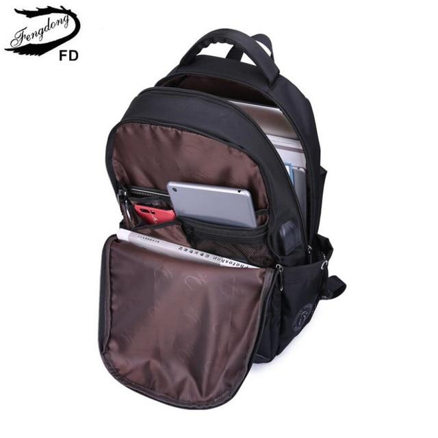 FengDong school bags for boys black waterproof laptop backpack for men luggage travel bags anti theft backpack usb bag schoolbag 4