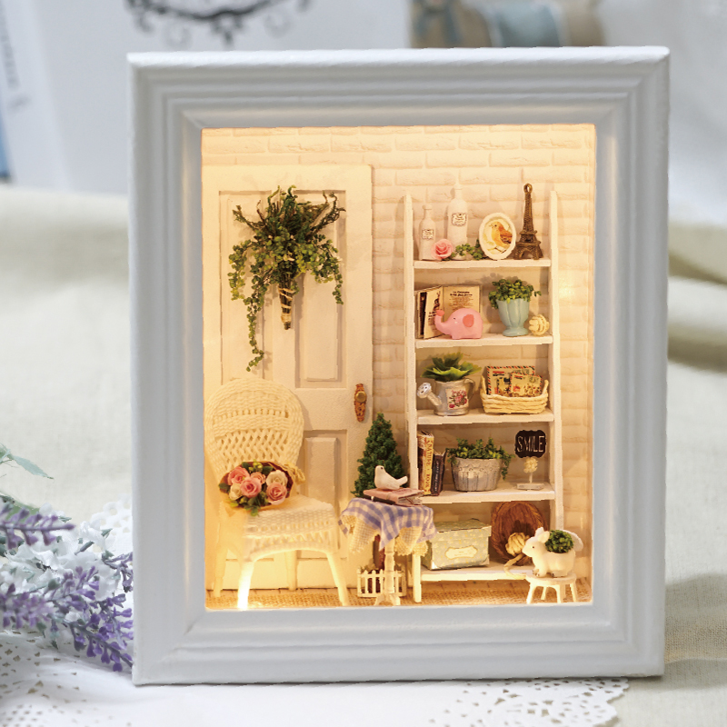 CUTEBEE Doll House Frame Miniature with Furniture DIY Wooden Dollhouse Miniaturas Toys for Children Birthday Gifts