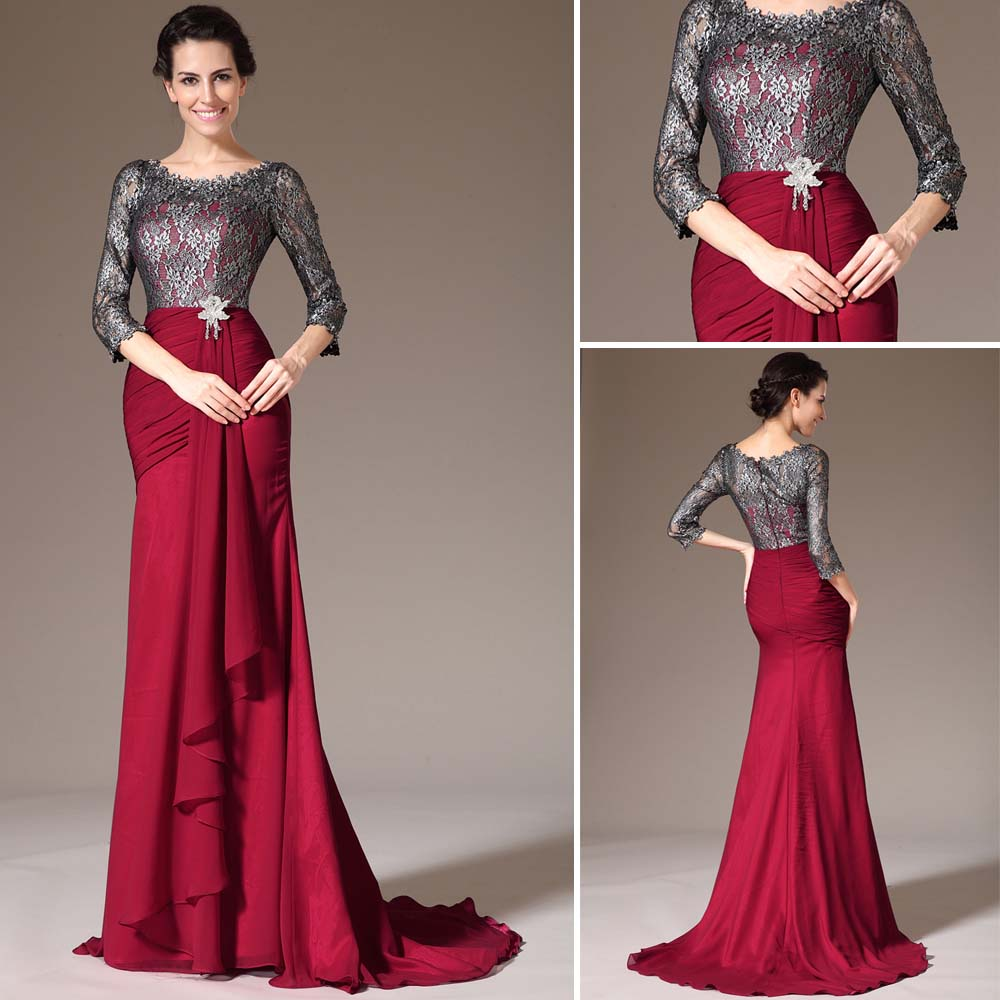 Burgundy Wine Red Lace Long Sleeves Las Mother Of The Bride Dresses Mermaid Formal Prom Evening Dress Party Gown 2017 In