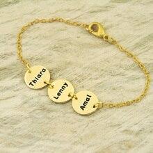Aleación de pulsera personalizada nombre, círculo de aleación de nombre de disco brcelet, familia pulsera, el mejor regalo para el padre