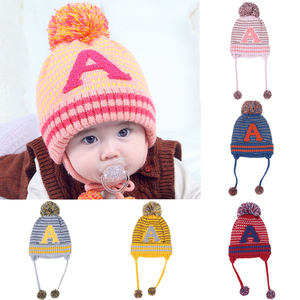 2017 new arrival baby hat Baby Boys Girls Beanie Letter ACotton Hat Children Print Knitting Hats winter warm lowest price
