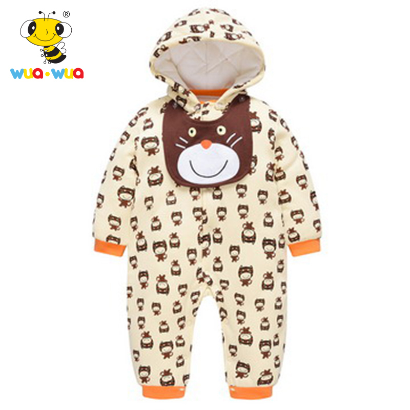 Wua Wua Baby Boy Girl Winter Hooded Romper With Bibs Warm Jumpsuits Long Sleeve Infant One Pieces Clothes For Newborn Body Suit 2017 hot newborn infant warm baby boy girl clothes cotton long sleeve hooded romper jumpsuit one pieces outfit tracksuit 0 24m