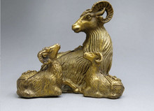 ZSR 1018++++++China brass sculpture carved fine copper Feng Shui Three Rams Bring Bliss Statue(China)