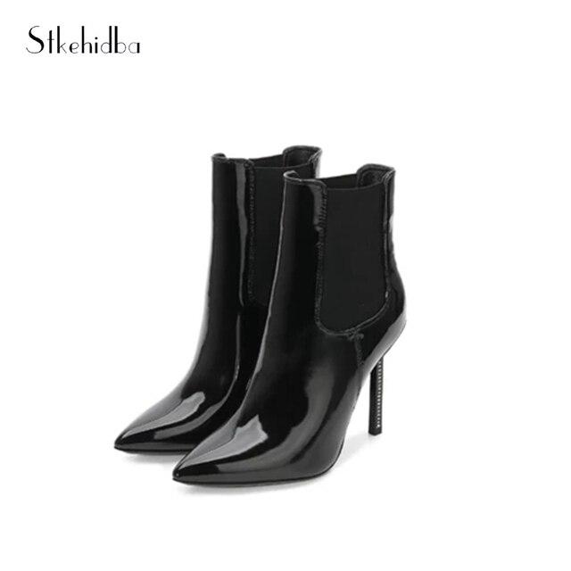 79be48f303c Stkehidba Nuevo 2018 mujeres botas botines punta estrecha Otoño Invierno  charol negro Sexy botas de tacón