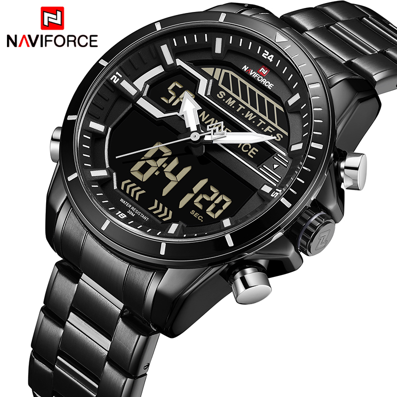 2018 NAVIFORCE New Men Sports Watches Man Waterproof Quartz Wristwatch Full Steel Men LED Digital Watch Clock Relogio Masculino naviforce men s military sports watches men led digital watch waterproof full steel quartz watches man clock relogio masculino