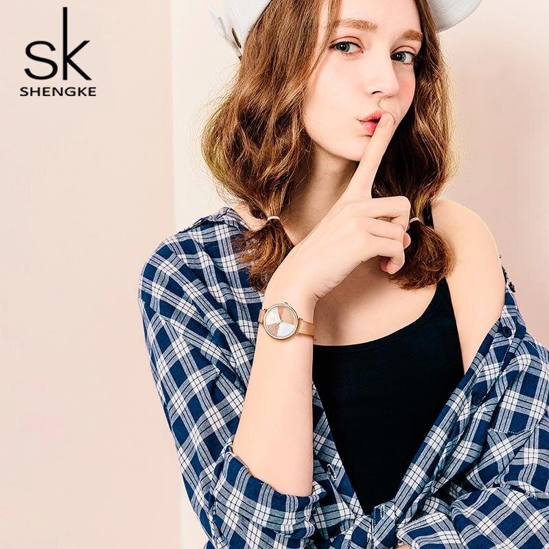 Creative Glitter shell Dial Women Ladies Leather Wrist Watch  4