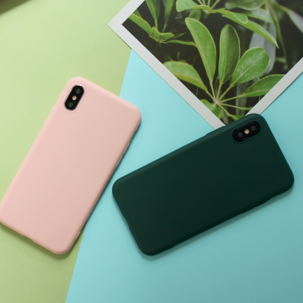 For iPhone 7 Case Candy Solid Color Soft Silicone Cover for iPhone X Case iPhone XR Case 6 6S 7 8 Plus 6 5S SE XS MAX Coque in Fitted Cases from Cellphones Telecommunications