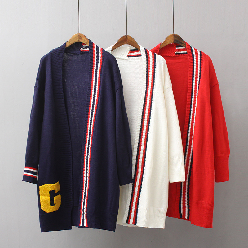 Euro-American Wind-Sticker Embroidered Letters Loose Knitted Cardigan Sweater Jacket New Medium-Length Women's Wear