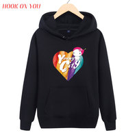 2017 New Arrival Funny Men Love Pullover Hoodies Young City Cartoon Heart Print Swaetshirt Hip Hop