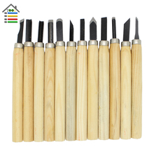 12pcs/set Wood Carving Tools Set Knife Mini Chisel Asstorted Steel Blades With Pine Hand Wood Handle for Woodworking Chisels