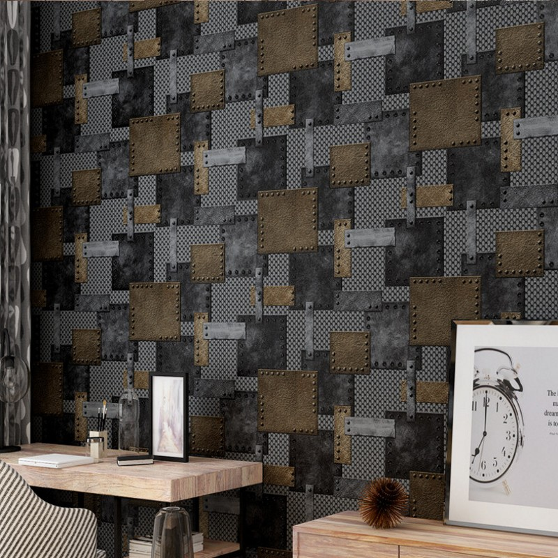Free Shipping Custom 3D Stereo Retro Industrial Imitation Metal Chamber  Escape Wallpaper Old Iron Rust Bar Restaurant Wallpaper In Wallpapers From  Home ...